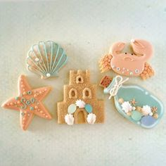 Another beautiful beach themed cookies Cookie Cake Pie, Set Cookie, Cupcake Cookies, Iced Cookies, Cut Out Cookies, Cookies Et Biscuits, 17 Birthday Cake, Sugar Cookie Royal Icing, Ballerina Cakes