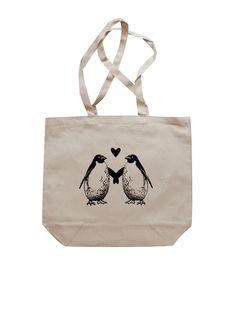 PENGUIN Tote Bag -  Penguins in Love - Natural Canvas BIG Shoppers Tote. $12,00, via Etsy.