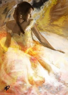Fans imagine what Katnisss wedding dress in The Hunger Games: Catching Fire will look like. Credit: xskiesrbluex on deviantART