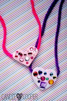 Heart pendants using air dry clay
