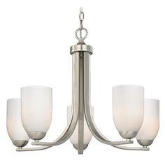 Modern 5-Light Chandelier with Opal White Cylinder Glass in Satin Nickel