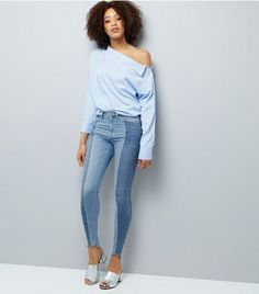 Tall Blue Two Tone Skinny Jeans   New Look