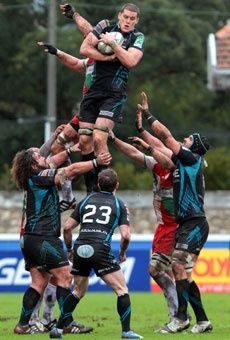 Ospreys Ian Evans jumps for the ball during the teams Heineken European Cup rugby union match against Biarritz in Biarritz, France.