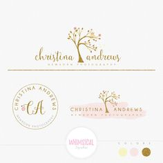 Whimsical Cute swirly tree owl - Premade Photography Logo and Watermark, Classic Elegant Script Font GOLD GLITTER childrenCalligraphy Logo