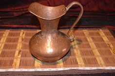 "Antique Handmade Hammered Copper Water Pitcher with Handle 8 7/8""x7"""
