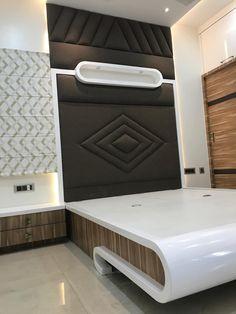 Luxury interior design 3 bhk flat minimalist bedroom by nabh design & associates minimalist plywood Box Bed Design, Bedroom Closet Design, Bedroom Furniture Design, Bed Furniture Design, Room Design Bedroom, Luxury Interior Design, Bedroom Bed Design, Bed Back Design, Bedroom Cupboard Designs