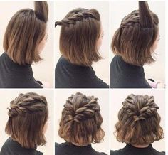 Hairstyles for short hair twisted hair styles easy, Hairstyles For Short Hair Twisted Hair Styles Easy. Hairstyles For Short Hair Twisted Hair Styles Easy. Braided Crown Hairstyles, Prom Hairstyles For Short Hair, Braids For Short Hair, Short Hair Cuts, Braided Hairstyles, Cool Hairstyles, Hairstyle Ideas, Wedding Hairstyles, Party Hairstyle