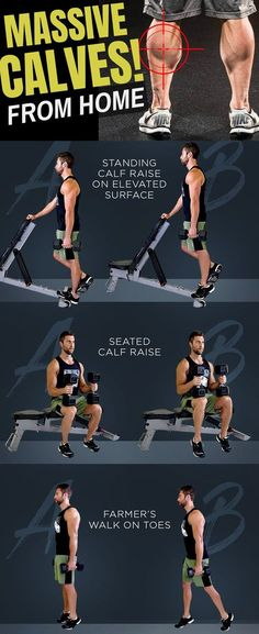 Combine this Calves Workout with the Ultimate Bulking Stack for Getting Massive Calves. Fitness Hacks, Fitness Workouts, Fun Workouts, Calf Workouts, Calf Training, Farmers Walk, Calf Exercises, Increase Muscle Mass, Big Muscles