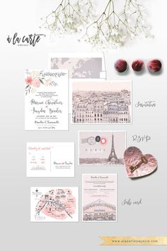 Destination wedding invitation set Paris France Parisian Illustrated Wedding Invitation Suite - European wedding ♥ Deposit Payment to begin work on your customized wedding invitation or suite.     The sketches of Paris are included as shown. The hand-drawn map of Paris can be customized with your venue location (other customization requests can be accommodated for an additional fee.)   Please note that each card is printed with matching backing as shown on the sample. Switching the backing…