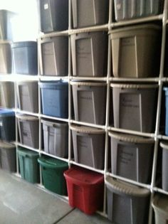 Basement tupperware tote bin storage organization