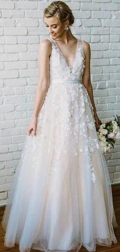 d5633239f23 Champagne V Neck Cheap Wedding Dresses Online