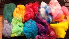 Crimped Nylon hand dyed multi color pack for by PlumCrazyFiberArt (Craft Supplies & Tools, Fiber & Textile Art Supplies, Yarn & Roving, Batts, phatfiber, cashmere, silk, mulberry, roving, top, spin, apricot, lemon, combed top)