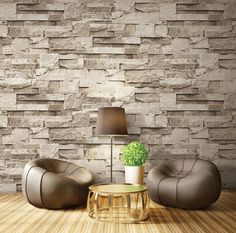 3D taş desenli duvar kağıdı