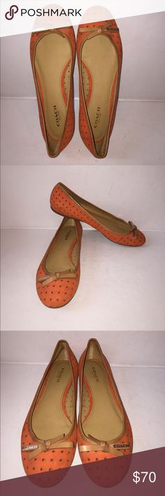 Orange Coach Daisey Flats size 6.5B Used maybe 1 time or just tried on. These cute Orange COACH flats are perfect for this summer!! Coach's Daisey ballet flat takes on an airy sophistication in tumbled perforated leather with contrast leather trim and bow. Casually elegant, this versatile, wear-everywhere style will quickly become a favorite. Coach Shoes Flats & Loafers