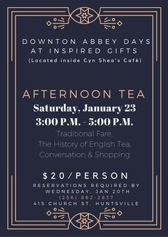Come grab some tea in Downtown Huntsville! Check out this poster for more information!