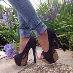 nice Exquisite Black Suede Peep-toe Heels Click to see this Great Deal! http://elegantshoegirl.com/product/exquisite-black-suede-peep-toe-heels/