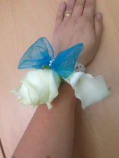 teal ivory corsage