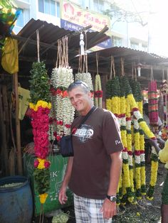 Steve admiring the garlands at the flower market in Chennai, India