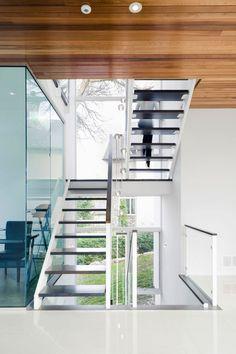 Wood ceiling around stairs