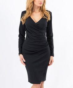 Black Ruched Wrap Dress #zulily #zulilyfinds
