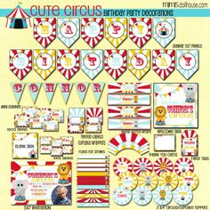 Circus Party Printable Collection http://mimisdollhouse.com/product/cute-circus-party-printable-collection/ #circus #circusparty #printable