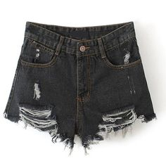 High Waist Frayed Denim Shorts (705 UYU) ❤ liked on Polyvore featuring shorts, stylemoi, bottoms, black, blue, high-waisted denim shorts, highwaisted shorts, black denim shorts, high rise denim shorts and jean shorts