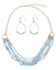 "Beaded Necklace and Earring Set, Turquoise, 18"" with 2 1/2"" extender, 3 Available, SET $29.00. To buy, visit www.facebook.com/JewelrySistersLLC"