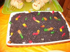 Dirt Cake with the words Fear Factor written on it for Fear factor birthday party??