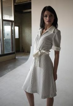 Rock My Vintage - VINTAGE 1960S BLUE AND WHITE NAUTICAL STRIPED DRESS