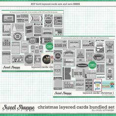 Cindy's Layered Cards: Christmas Bundle by Cindy Schneider Perfect for Project Life