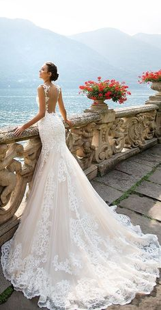 """Lace Wedding Dresses Wedding Dress by Milla Nova White Desire 2017 Bridal Collection - Amalia - Dramatic elegance is oozing out of every single wedding dress in Milla Nova """"White Desire"""" 2017 Bridal Collection. Every bridal gown brings gorgeous style. Backless Mermaid Wedding Dresses, Wedding Dresses 2018, Bridal Dresses, 2017 Wedding, Wedding Dress Trumpet, Italian Wedding Dresses, Wedding Dressses, Weeding Dress, White Wedding Dresses"""