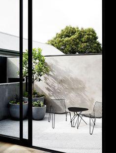 Modern Patio, Minimal Patio, Black Metal Patio Furniture, Patterned Tile Floor, Cement Planters, Mim Design