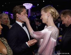 Pin for Later: 12 Costar Reunions You Might Have Missed at the Golden Globes Cate Blanchett and Brad Pitt, The Curious Case of Benjamin Button and Babel