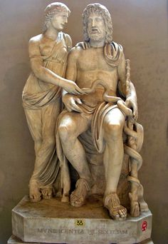 Asklepius and Hygieia. Roman copy from the time of Hadrian after a Late Hellenistic original. Marble. Inv. No. 571. Rome, Vatican Museums, Pio-Clementine Museum, Gallery of statues.