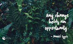 "Tropical desktop background with inspirational quote: ""Any changes holds an opportunity."""