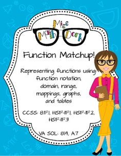 Function Matchup! In this activity, students match 8 functions to the appropriate Function notation set-up Function notation solved Table ...