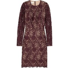 Stella McCartney Bevam guipure lace dress (39 315 UAH) ❤ liked on Polyvore featuring dresses, purple lace dress, purple lace cocktail dress, stella mccartney, lace cocktail dress and lace pencil dress