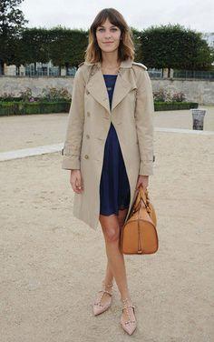 Alexa Chung in Whistles dress, Burberry coat, Chloe bag, Valentino shoes - Paris Fashion Week.  (October 2010)