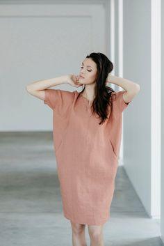 Oversized linen dres