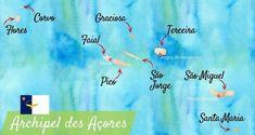 Carte touristique des Açores. Azores Portugal, Road Trip, Atlantic Ocean, Best Hotels, Trip Planning, Magazine, Travel, Islands, Wanderlust