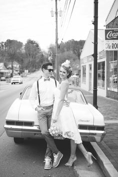 1950's Brunch Wedding styled shoot {vintage getaway car} Concept, PR & Marketing: Something New for I Do | Photography: Kelly Anne Photography | Decor: Mama Sweet and Company | Cake: Cakes By Carissa | Catering: Center Cut Catering | Venue: The Corner District | Hair and Makeup: Melissa & Co. Salon | Donuts: Da Vinci's Donuts | Bride: Amelia Edmondson | Groom: Chris Niesluchowski