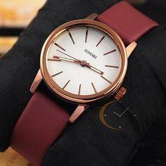 New Fashion Elegant Sport Womens Lady Quartz Wrist Watch Brown Leather Leisure