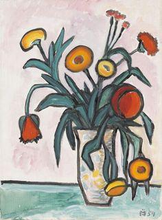 Gabriele Münter (Germany Ringelblumen und Mohn - Marigolds and Poppies oil on canvas 45 x 33 cm Franz Marc, Art Floral, Wassily Kandinsky, Art Auction, Art Paintings, New Art, Flower Art, Watercolor Art, Art For Kids