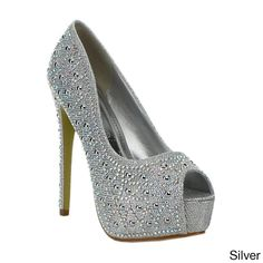 These elegant pumps designed for eye-catching style. Featuring a rhinestone-studded glitter upper, peep-toes, a hidden platform and a tall stiletto heel, these stunners will surely turn heads.