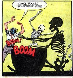 Dance fools!   Voodoo drums with skeleton comic books comics