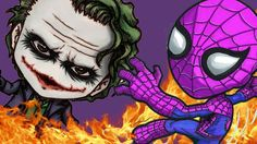 Pink spiderman boxing Joker Superman love Frozen Anna Superhero cartoon