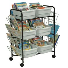 The unique and simple design of this cart accommodates restricted budgets. As well, ideal for single classroom use to store classroom book collections.#VBC5600