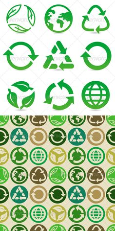 Buy Vector Set with Recycle Signs and Pattern by venimo on GraphicRiver. Vector collection with recycle signs and symbols in green color and seamless pattern. EPS and AI files Graphic Design Typography, Logo Design, Diy Bag Designs, Plastic Shop, Paper Bag Design, Ecology Design, Recycle Symbol, Logos, Leaf Logo