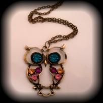 Retro Style Rhinestone Hollow Out Owl Charm Pendant Chain Necklace