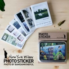Instax mini photo stickers in tin case